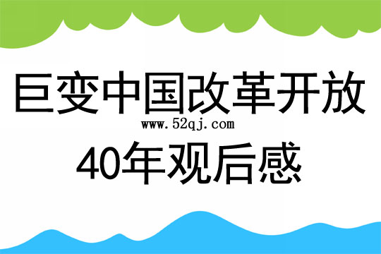 巨变中国改革开放40年观后感